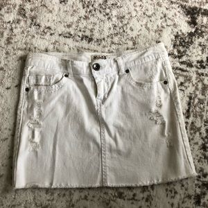 White Denim Distressed Mini Skirt